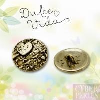 Bouton coeur et motifs bronze antique