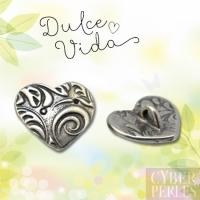 Bouton coeur motifs feuillage - argenté