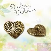 Bouton coeur motifs feuillage - bronze