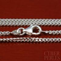 Chaîne en argent maille diamantée - 95 cm