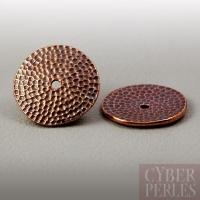 Perle disque martelé - cuivre antique