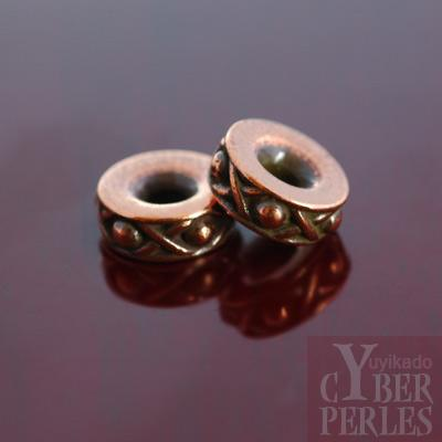 Perle intercalaire cuivree style Bali