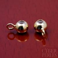 Perle avec anneau - attache breloque dorée