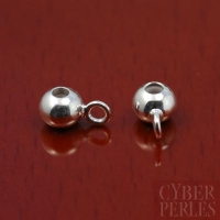 Perle avec anneau - attache breloque argentée