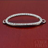 Connecteur ovale pavé de cristal - argenté