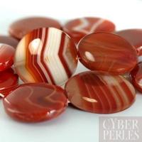Perle disque en agate rouge 20 mm
