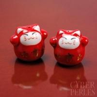 Perle maneki-neko en porcelaine - rouge