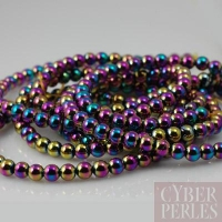 Perles rondes en hématite arc en ciel - 2 mm