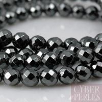 Perles rondes en hématite facettée - 6 mm