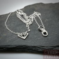 Collier argent - pendentif géométrique diamant