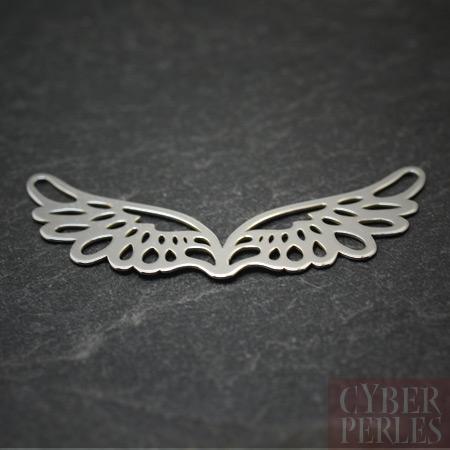 Breloque connecteur en argent - ailes