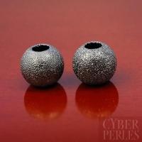 Perle diamantée argentée oxydée - 12 mm