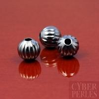 Perles rondes striées argentées oxydées - 6 mm