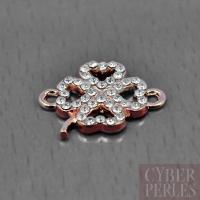 Connecteur pavé de cristal trèfle - or rose