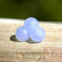 Perles rondes aspect givré - bleu clair