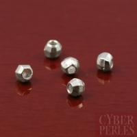 Perle ronde facettée argentée - 2,5 mm