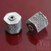 Perle de Bali en argent 925/1000 hexagonale