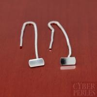 Chainettes d'oreilles avec plateau argent 925