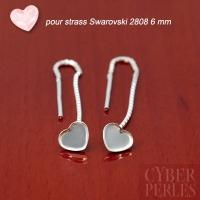 Chainettes d'oreilles coeur argent 925