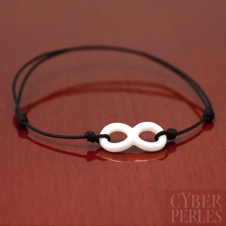 Bracelet symbole infini en ceramique blanche