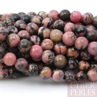 Perles en Rhodonite veines noires - 8 mm