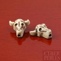 Perle en céramique raku - crâne de taureau
