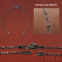 Chaine base bracelet argent noir - maille boule