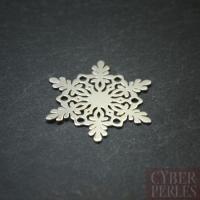 Breloque connecteur argent - flocon de neige