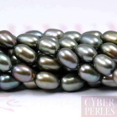 Perles de culture d'eau douce ovales - vert irise