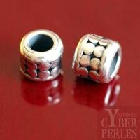 Perle de Bali en argent  - large trou