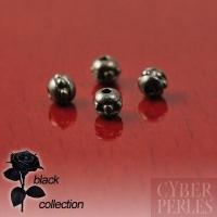 Perles rondes style Bali en métal noir - 3 mm