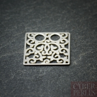 Sterling silver 2 holes charm - square