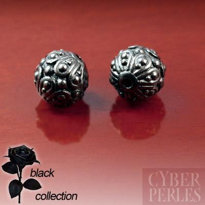 Perle ronde style Bali en metal noir