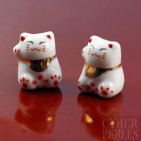 Perle en porcelaine - chat bonheur