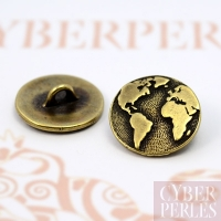 Bouton carte du monde -  bronze antique