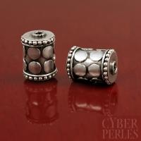 Perle de Bali en argent  - tube cylindre