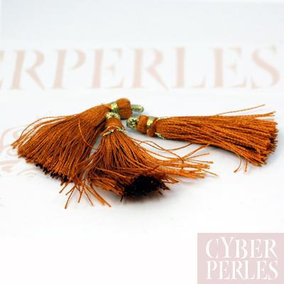 Pompon textile en satin - safran