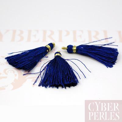 Pompon textile en satin - bleu marine