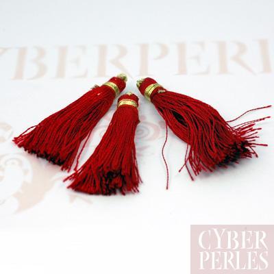 Pompon textile en satin - rouge
