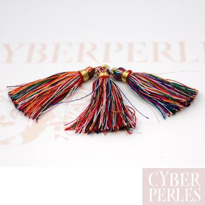 Pompon textile en satin - multicolore