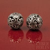 Perle de Bali ronde ajourée en argent