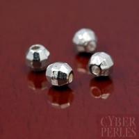 Perle ronde facettée argentée - 3,7 mm