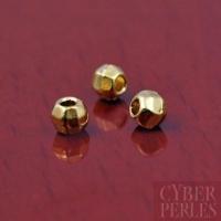 Perle ronde facettée dorée - 2,5 mm