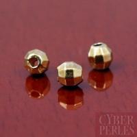 Perle ronde facettée dorée - 3,7 mm