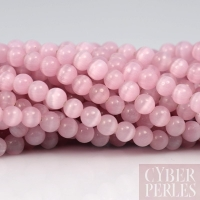 Perles oeil de chat rose 4 mm
