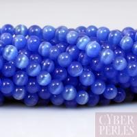 Perles oeil de chat bleu roi 4 mm