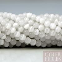 Perles oeil de chat - blanc 4 mm