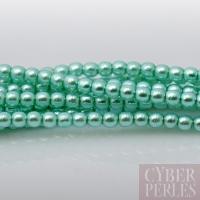 Perles tchèques nacrées 2 mm - vert aqua