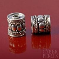 Perle de Bali cylindre en argent 925/1000