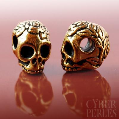 Perle en metal dore - crane et roses